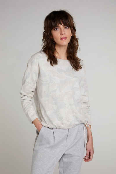 Oui Rundhalspullover »Pullover in Camouflage Jacquard«