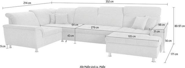 Sofas - DOMO collection Wohnlandschaft »Franzi«, im XXL Format, wahlweise mit Bettfunktion, Bettkasten und Kopfteilverstellung, frei im Raum stellbar  - Onlineshop OTTO