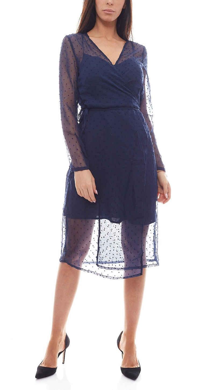NA-KD Sommerkleid »NA-KD x Qontrast Wickel-Kleid durchsichtiges Damen Pünktchen-Kleid Party-Kleid Blau«