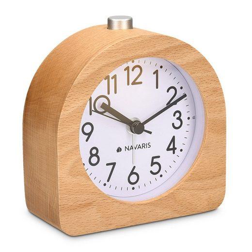 Navaris Wecker Analog Holz Wecker mit Snooze - Retro Uhr Halbrund mit Ziffernblatt Alarm Licht - Leise Tischuhr Ohne Ticken - Naturholz