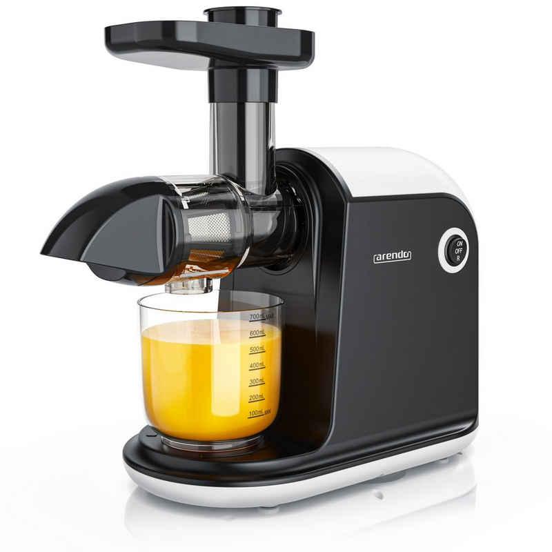 Arendo Slow Juicer, 150 W, Slowjuicer Entsafter Edelstahl - für Gemüse und Obst - Saftpresse elektrisch - 150W – 700 ml Saftkanne