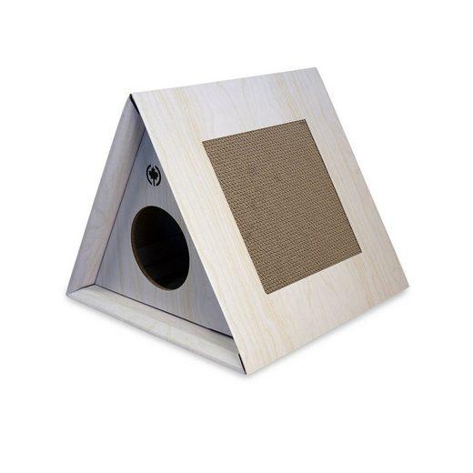 Canadian Cat Company Kratzpappe »Triangle House - hellgrau«, (Kratzmöbel &, Höhle für Katzen), optionale Kratzflächen und innnliegender Rückzugsort