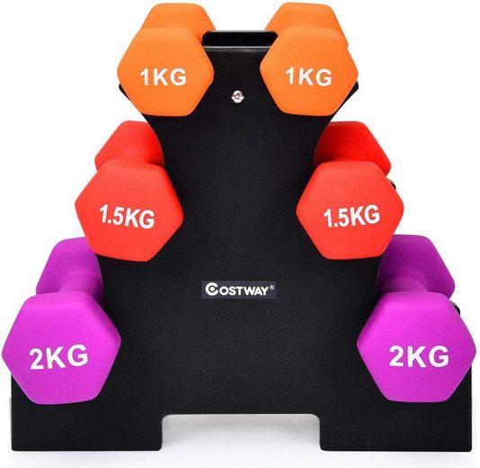 COSTWAY Hantel-Set »Kurzhantel Set«, 10 kg, (6-tlg), mit Hantelständer