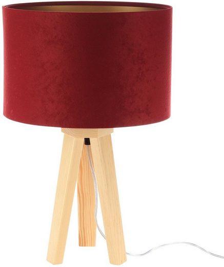 Jens Stolte Leuchten Tischleuchte »Paula«, Textiltischleuchte, rot, Holzfuß, Stofftischleuchte bordeaux/gold