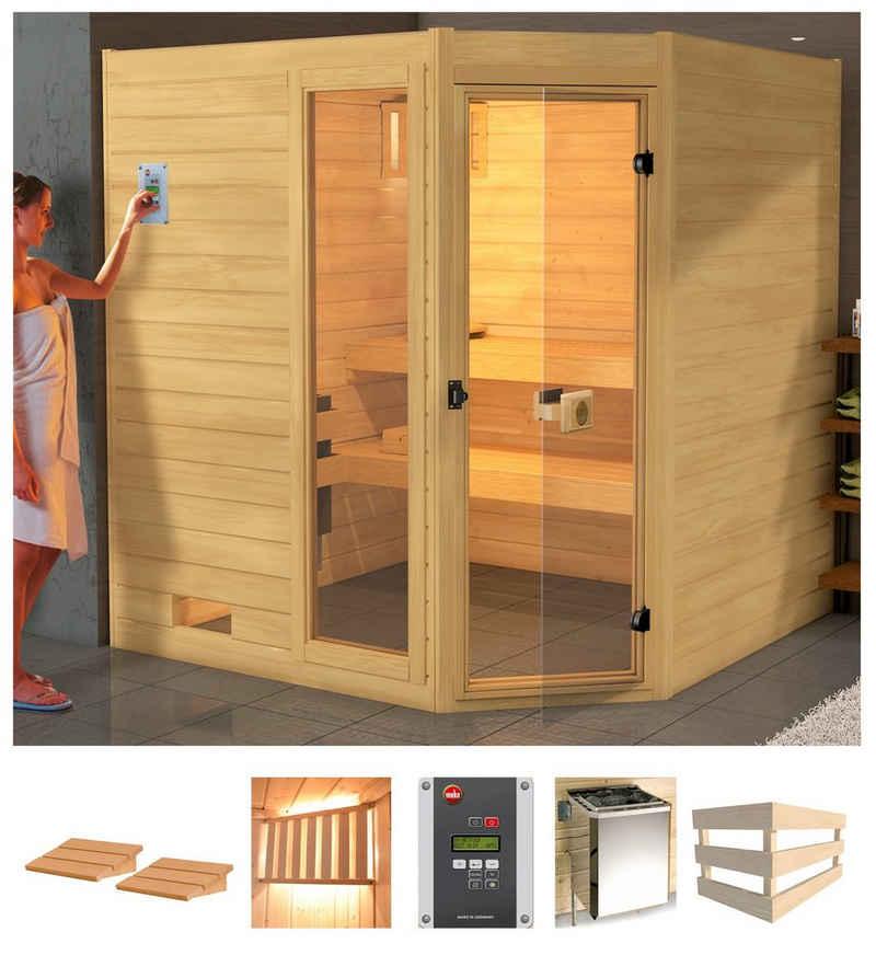 weka Sauna »Lars Eck 2«, BxTxH: 189 x 189 x 203,5 cm, 38 mm, 7,5 kW Bio-Kombiofen mit ext. Steuerung