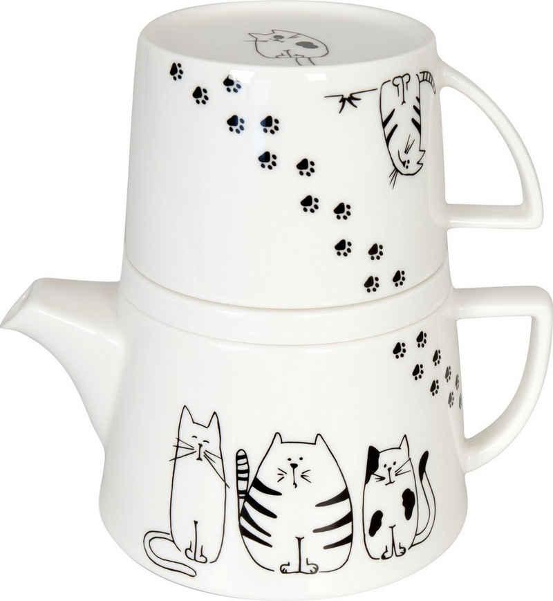 Könitz Teekanne »Tea for me - Funny cats«, 0,65 l, (Set), Tekanne+Becher+Deckel/ Ablageschale, New Bone China-Porzellan
