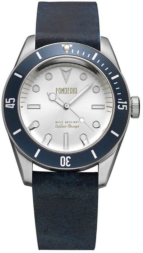fonderia -  Chronograph »UAP6A002USB  Herren Uhr P-6A002USB Leder«, (Analoguhr), Herren Armbanduhr rund, groß (ca. 43,5mm), Lederarmband schwarz