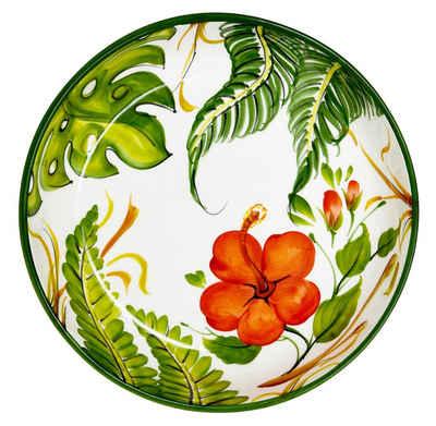 Lashuma Obstschale »Hibiskus«, Keramik, Keramikschale italienisch, Servierschüssel Ø 28 cm
