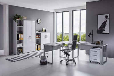 BMG Möbel Büromöbel-Set »Office Edition Set 4«, Büromöbel komplett Set Arbeitszimmer Home Office in Lichtgrau/Weiß Matt Made in Germany