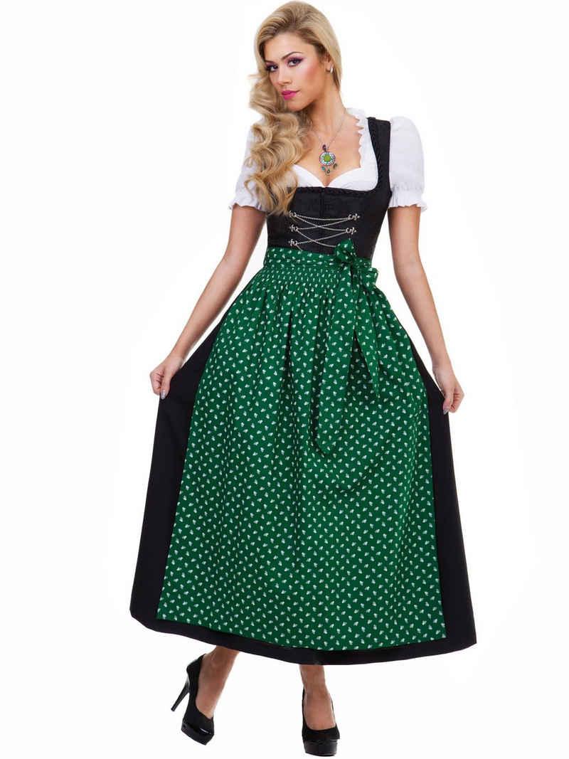 Almbock Dirndl »Langes Dirndl Luisa« (2-tlg) schwarz mit grüner Schürze