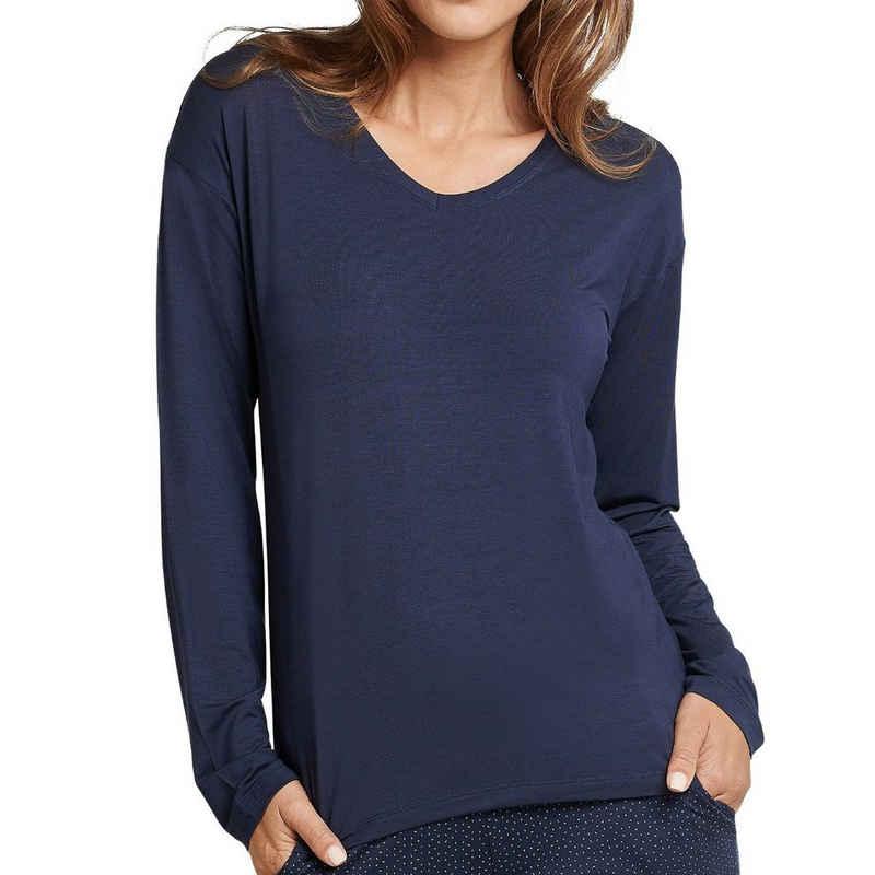 Schiesser Pyjamaoberteil »Mix & Relax« Schlafanzug Shirt langarm - Im lockeren Schnitt, Angenehm auf der Haut, Schlafanzüge zum selber mixen