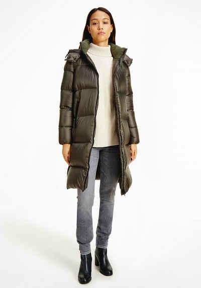 Calvin Klein Jeans Daunenmantel »MW DOWN SHINY LONG PUFFER« mit abnehmbarer Kapuze & CK Logo-Schriftzug