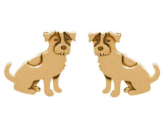 Gemshine Paar Ohrstecker »JACK RUSSELL TERRIER HUND«, Schmuck für Tierfans Made in Spain