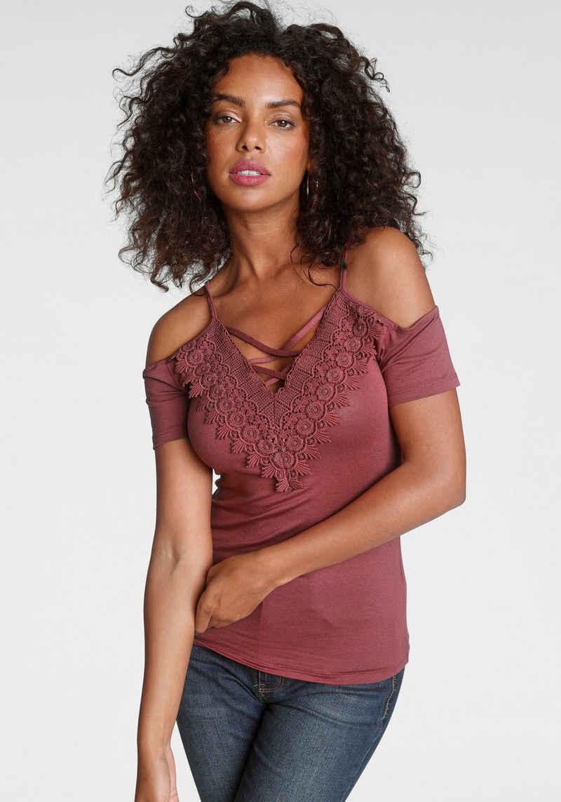 Melrose T-Shirt mit Spitze und Schnürung