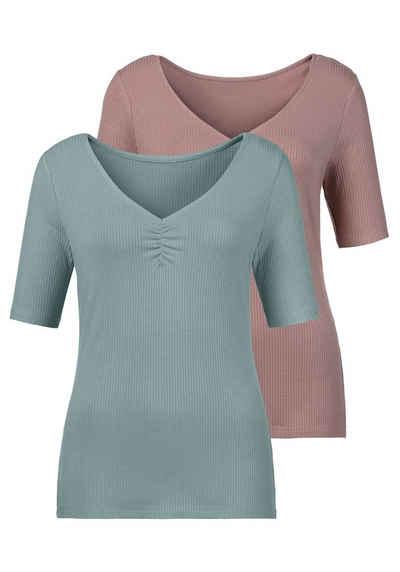 LASCANA T-Shirt (2er-Pack) aus besonders weicher Rippqualität