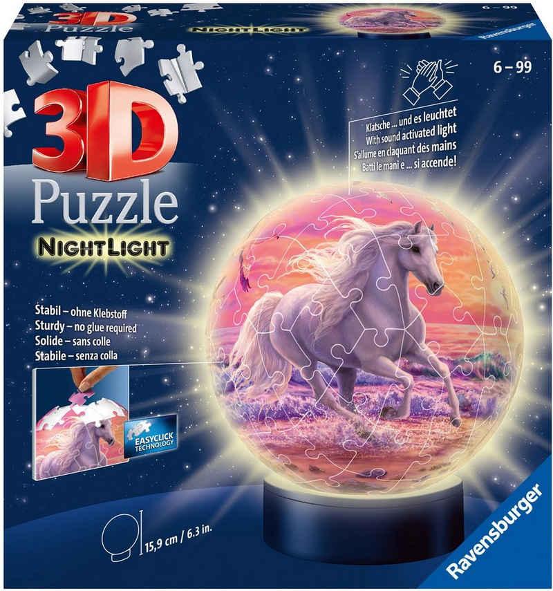 Ravensburger Puzzleball »Nachtlicht Pferde am Strand«, 72 Puzzleteile, mit Leuchtmodul inkl. LEDs; Made in Europe, FSC® - schützt Wald - weltweit