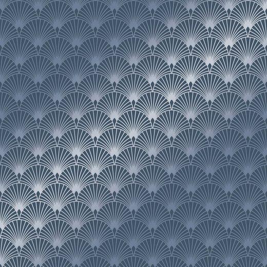 SUPERFRESCO EASY Vliestapete »Ecailles Gatsby«, Blau, 52cm x 10m