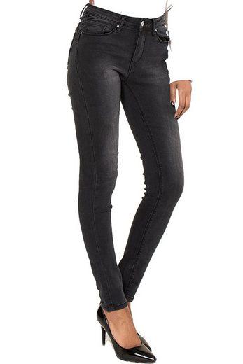 Nina Carter Skinny-fit-Jeans »3456« Damen Jeans Skinny Fit Push Up Effekt Mid Used Wash Demin