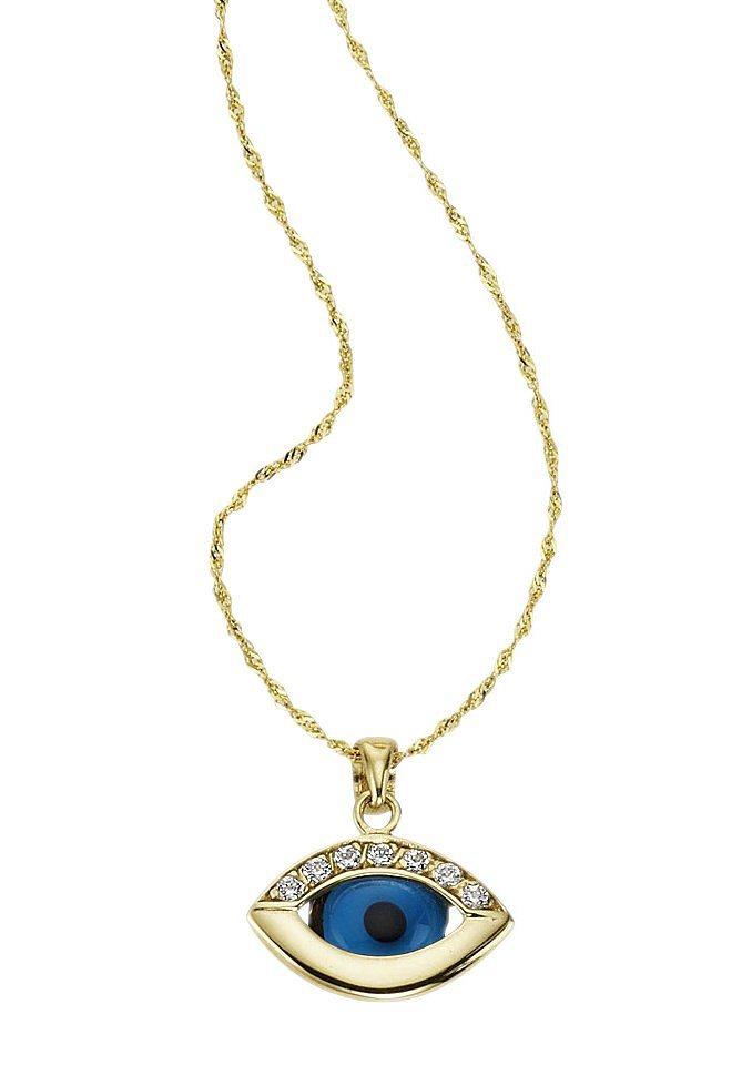 firetti Halsschmuck: Halskette »Das Auge Gottes / Magisches Auge« in Ankerkettengliederung in goldfarben