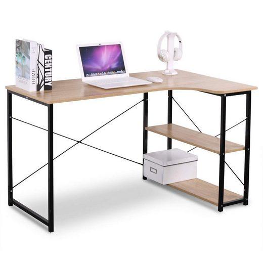 Woltu Schreibtisch, Geräumiger Arbeitstisch mit zwei Ablagen natur