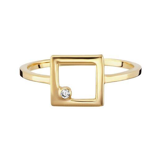 CAÏ Ring »925/- Sterling Silber vergoldet Zirkonia Viereck«