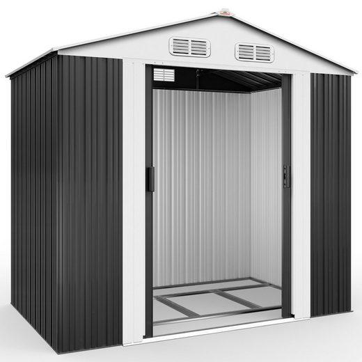 Gardebruk Gerätehaus, XL Metall 2,4m² mit Fundament 210x132x186cm Schiebetür Anthrazit Geräteschuppen Gartenhaus Schrank 4,2m³