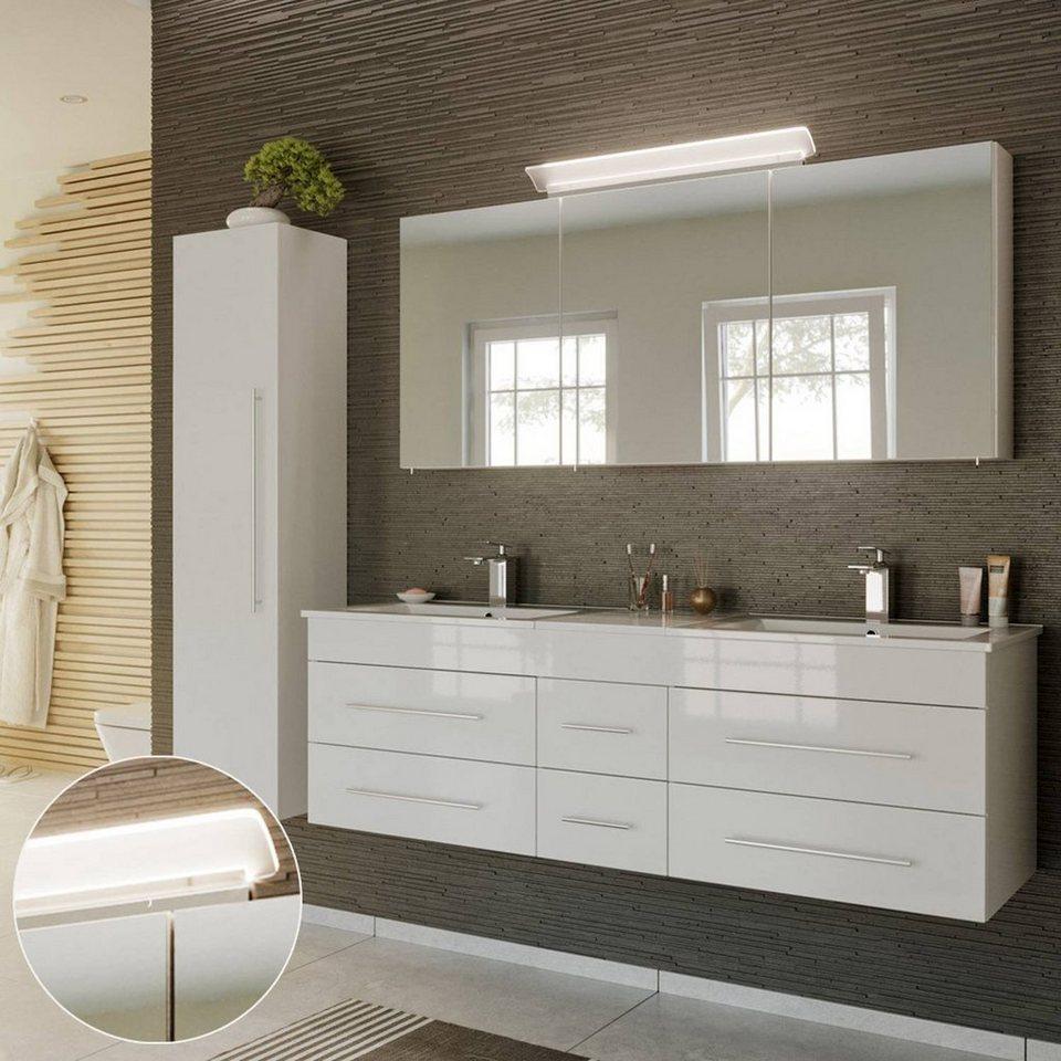 Badmöbel Set 3-tlg Badezimmermöbel Hochschrank Waschtischunterschrank Spiegel
