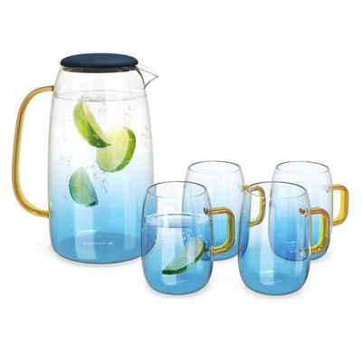 Navaris Wasserkaraffe, 1,55 l mit vier Gläsern - Karaffe aus Glas mit Silikondeckel für kalte und heiße Getränke - Glaskrug Set inkl. vier Gläser