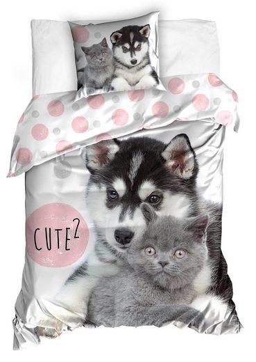 Bettwäsche, One Home, mit Husky und Katzen Welpen