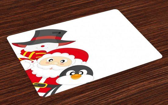 Tischdecke, »Waschbare Stoff Esszimmer Küche Tischdekorations Digitaldruck«, Abakuhaus, (4-teilig, 4 Teilig-St., Set aus 4x), Weihnachten Happy Santa Penguin