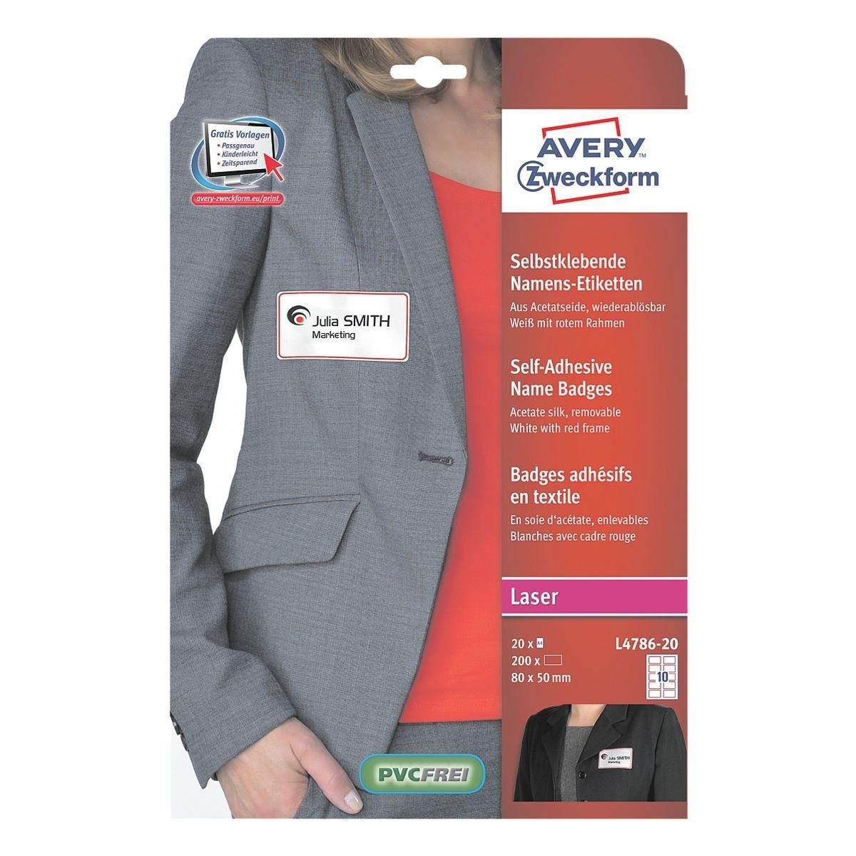 Avery Zweckform Selbstklebe-Namensschilder 80x50 mm weiß-rot L4786-20