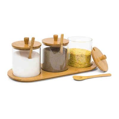 relaxdays Gewürzbehälter »Gewürzgläser JIAO«, Bambus