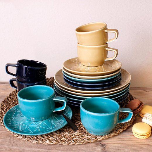 Eschenbach Kaffeeservice »Kaleido« (18-tlg), Porzellan, von Hand aufgebrachte Farbglasur, spülmaschinenfest
