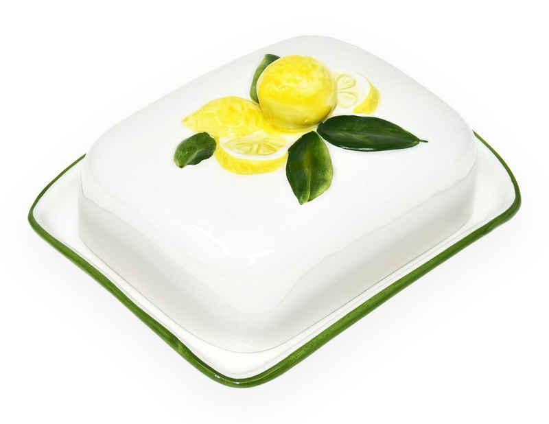 Lashuma Butterdose »Zitrone«, Keramik, Butterbehälter Keramik, Butterbox italienisch 18x14 cm