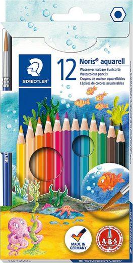 STAEDTLER Dekorierstift »NORIS AquarellBuntstifte, 12 Farben, inkl. Pinsel«