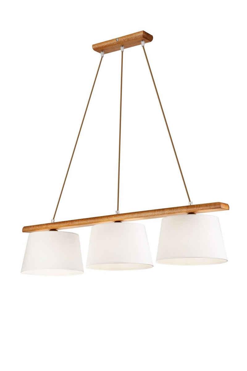 Licht-Erlebnisse Pendelleuchte »BEVERELY«, Hängeleuchte Esstisch Stoff Holz Braun Pendelleuchte Lampe