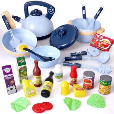 BeebeeRun Spiel-Kochgeschirr »Küchenspielzeug Zubehör«, (30-tlg., 30PCS Kinderküche Kochgeschirr mit Töpfe und Pfannen), Kinder Rollenspiel Spielzeug Lernspielzeug Geschenk