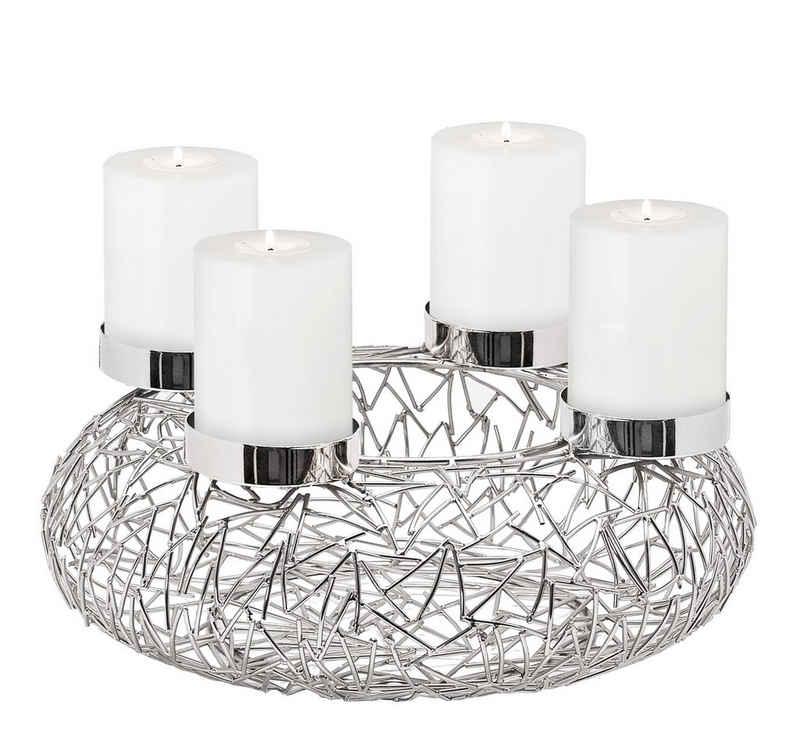 EDZARD Adventskranz »Milano L«, (34 cm) Kerzenhalter für Stumpenkerzen, Weihnachtsdeko für 4 Kerzen á Ø 8 cm, Kerzenkranz als Tischdeko mit Silber-Optik, vernickelt