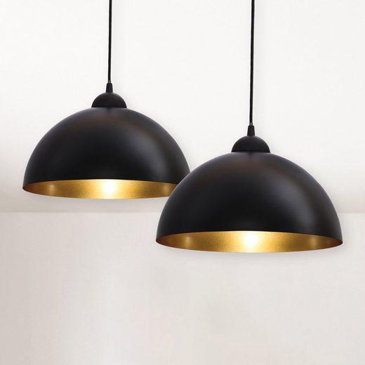 B.K.Licht Pendelleuchte »Auriga [schwarz]«, 2er Set Pendelleuchten schwarz/gold mit E27 Fassung