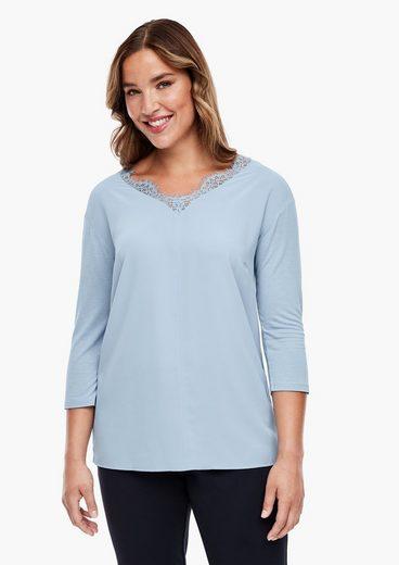 TRIANGLE 3/4-Arm-Shirt »V-Neck-Shirt mit Blusenfront« (1-tlg) Spitze