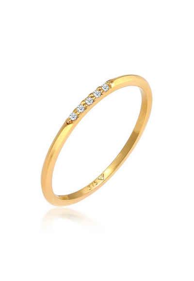 Elli Premium Diamantring »Bandring Verlobung Diamanten Elegant Fein 375 Gold«, Microsetting