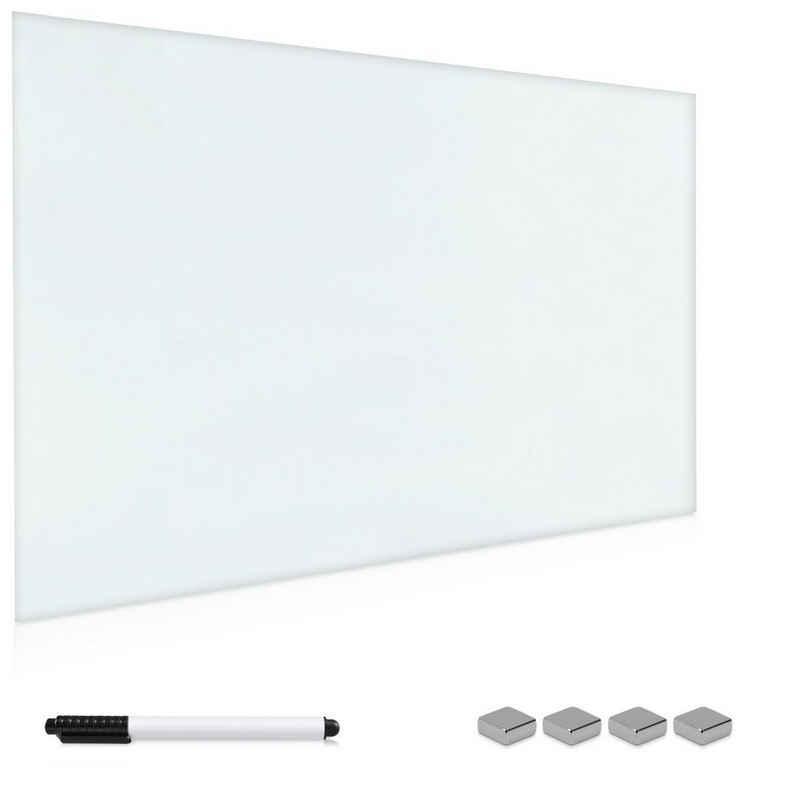 Navaris Wandtafel, Magnettafel Magnetboard aus Glas - 60x40 cm Tafel magnetisch zum Beschriften - Magnetwand inkl. Magnete Stift Halterung