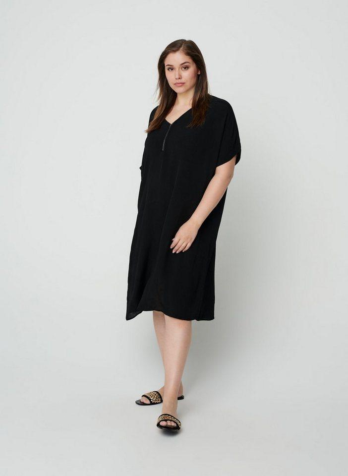zizzi -  Minikleid Große Größen Damen Kurzarm Viskose Kleid mit Print un V Ausschnitt