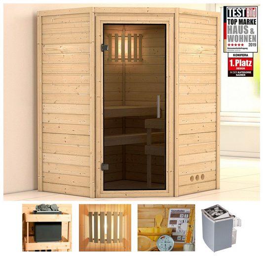 KONIFERA Sauna »Helvi«, 144x144x200 cm, 9 kW Ofen mit int. Strg., Glastür graphit