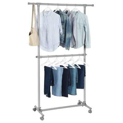 SONGMICS Kleiderständer »LLR14GY«, Garderobenständer mit Rollen und Doppelstange, grau
