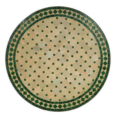 Casa Moro Gartentisch »Mediterraner Gartentisch marokkanischer Mosaiktisch Ø 90cm groß rund grün terrakotta mit Gestell H 73cm Kunsthandwerk aus Marrakesch, Dekorativer Balkontisch Bistrotisch Esstisch MT2105«, Handmade