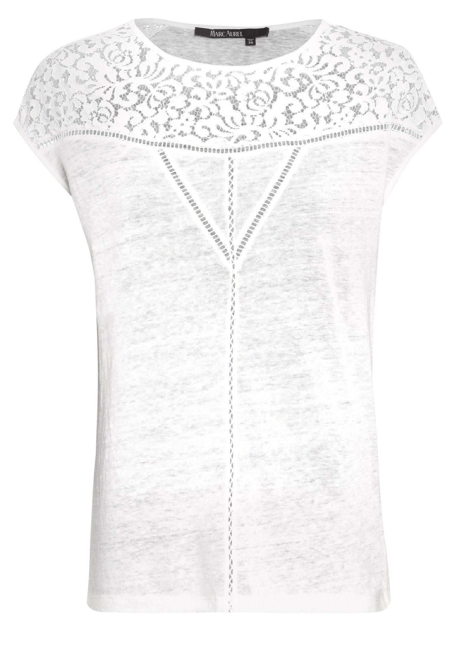 MARC AUREL T-Shirt mit Spitzeneinsätzen, Angenehme Leinenqualität