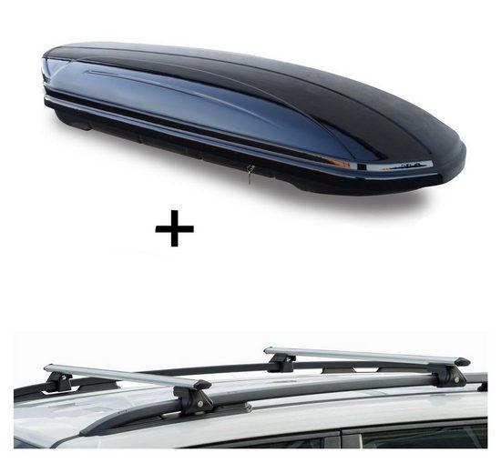 VDP Fahrradträger, Dachbox VDPMAA320 320Ltr abschließbar schwarz + Dachträger CRV135 kompatibel mit Kia Clarus (5 Türer) 1996-2001