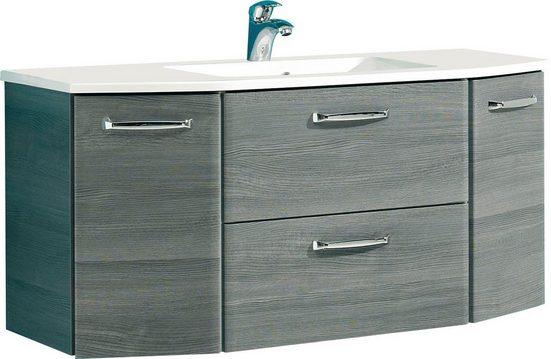 PELIPAL Waschtisch »Quickset 328«, Breite 112 cm, Mineralgussbecken, Metallgriffe, Türdämpfer