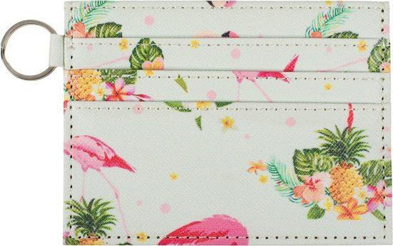 styleBREAKER Mini Geldbörse »Kartenetui mit buntem Flamingo Tropic Muster«, Kartenetui mit buntem Flamingo Tropic Muster